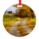 Country Road with Barn Round Ornament
