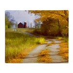 Country Road with Barn Throw Blanket