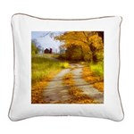 Country Road with Barn Square Canvas Pillow
