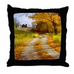 Country Road with Barn Throw Pillow