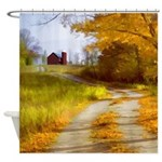 Country Road with Barn Shower Curtain