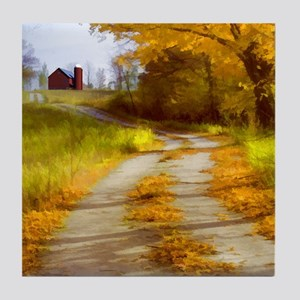 Country Road with Barn Tile Coaster