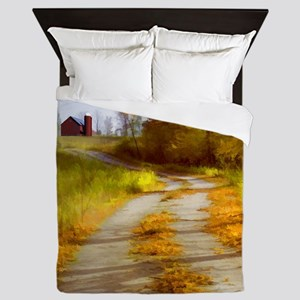 Country Road with Barn Queen Duvet