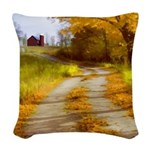 Country Road with Barn Woven Throw Pillow