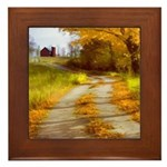 Country Road with Barn Framed Tile