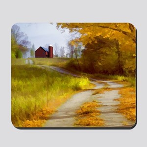 Country Road with Barn Mousepad