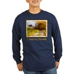 Country Road with Barn Long Sleeve Dark T-Shirt