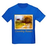 Country Road with Barn Kids Dark T-Shirt