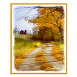 Country Road with Barn Small Poster