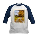 Country Road with Barn Kids Baseball Jersey