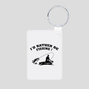 I'd rather be fishing ! Aluminum Photo Keychain