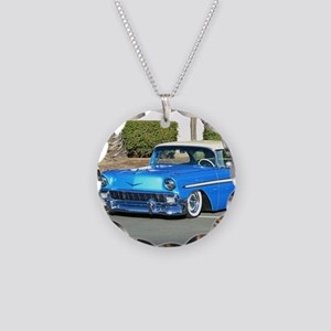 Classic Blue Car Necklace Circle Charm