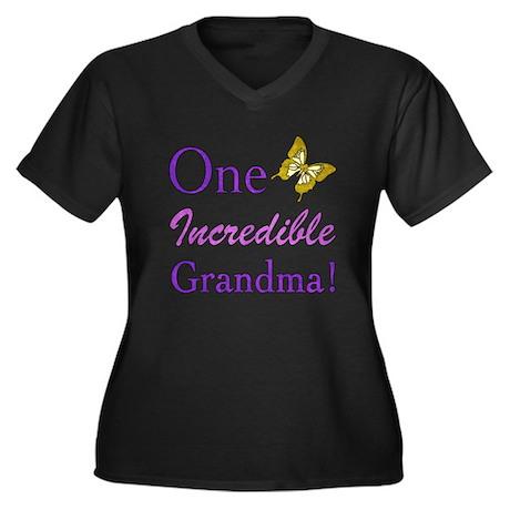 One Incredible Grandma Women's Plus Size V-Neck Da