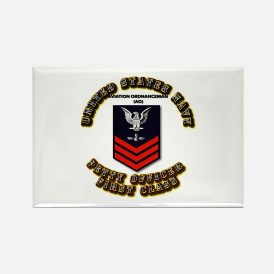 US Navy - AO with text Rectangle Magnet (10 pack)