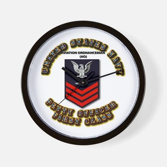 US Navy - AO with text Wall Clock