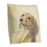 Dachshund (Longhaired) Burlap Throw Pillow