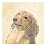 Dachshund (Longhaired) Square Car Magnet 3