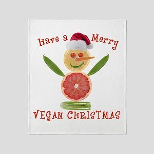 Merry Vegan Christmas Throw Blanket