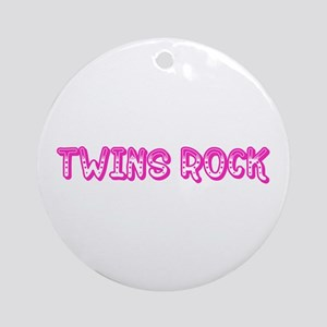 Pink Twins Rock Ornament (Round)