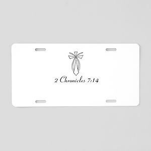 2 Chr 7:14 Cross Fish - Aluminum License Plate