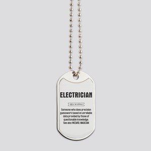 Funny Electrician Definition Dog Tags