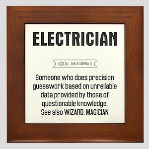 Funny Electrician Definition Framed Tile