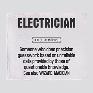 Funny Electrician Definition Throw Blanket