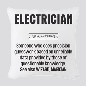 Funny Electrician Definition Woven Throw Pillow