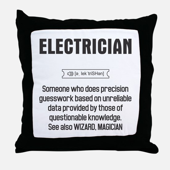 Funny Electrician Definition Throw Pillow