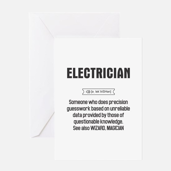 Funny Electrician Definition Greeting Cards