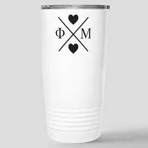 Phi Mu Cross 16 oz Stainless Steel Travel Mug