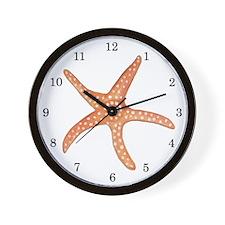 Orange Starfish Wall Clock