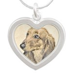 Dachshund (Longhaired) Silver Heart Necklace