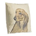 Dachshund (Longhaired) Burlap Throw Pillow