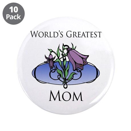 """World's Greatest Mom (Floral) 3.5"""" Button (10 pack"""