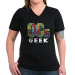 80s Geek Women's V-Neck Dark T-Shirt