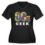 80s Geek Women's Plus Size V-Neck Dark T-Shirt