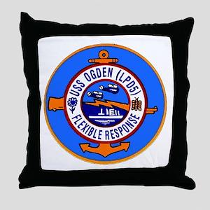 USS Ogden LPD 5 Throw Pillow