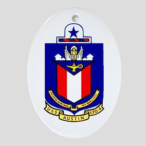 USS Austin LPD 4 Oval Ornament