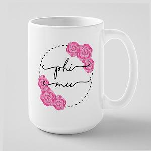phi mu floral 15 oz Ceramic Large Mug
