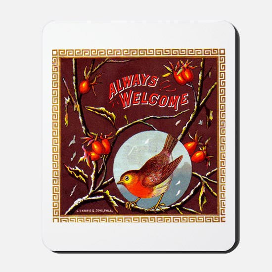 Welcome Bird Cigar Label Mousepad