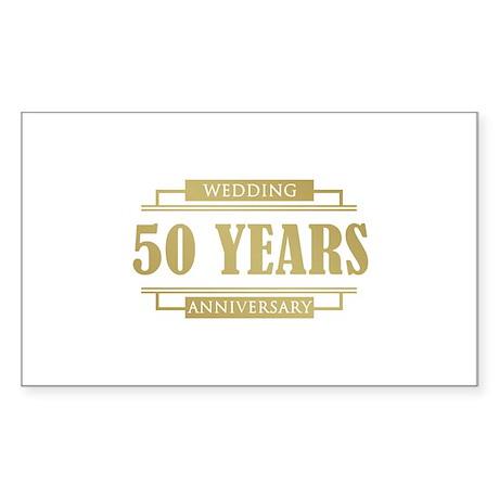 Stylish 50th Wedding Anniversary Sticker (Rectangl