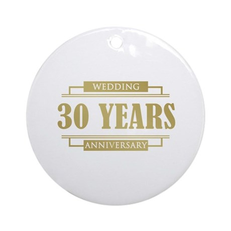 Stylish 30th Wedding Anniversary Ornament (Round)