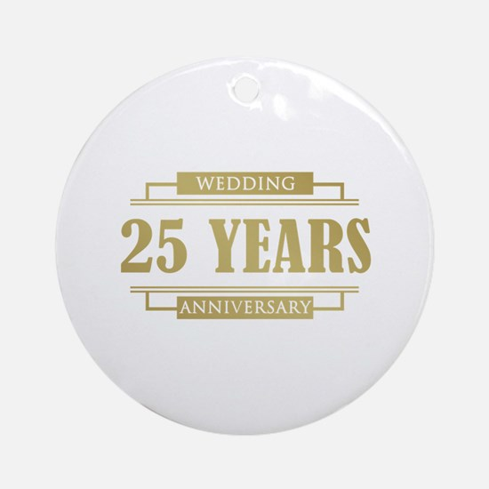 Stylish 25th Wedding Anniversary Ornament (Round)