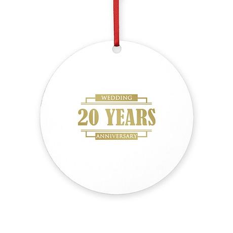 Stylish 20th Wedding Anniversary Ornament (Round)