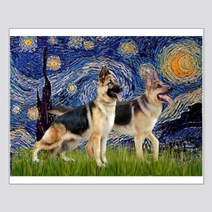 Starry / 2 German Shepherds Small Poster