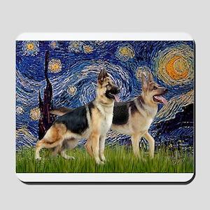 Starry / 2 German Shepherds Mousepad