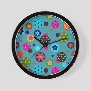 Retro Blue Circles Wall Clock