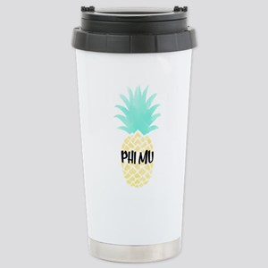 Phi Mu Pineapple 16 oz Stainless Steel Travel Mug