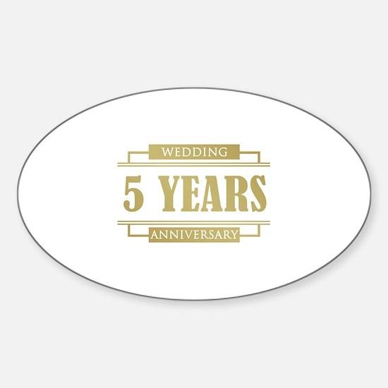 Stylish 5th Wedding Anniversary Sticker (Oval)